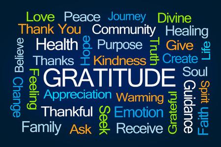 proposito: Gratitud nube de la palabra sobre fondo azul