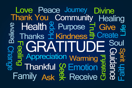purpose: Gratitude Word Cloud on Blue Background
