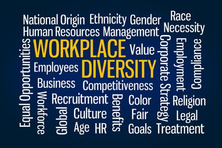 Workplace Diversity word cloud on Blue Background Reklamní fotografie
