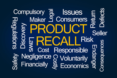 recall: Product Recall Word Cloud on Blue Background