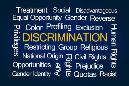 sex discrimination: Discrimination Word Cloud on Blue Background Stock Photo