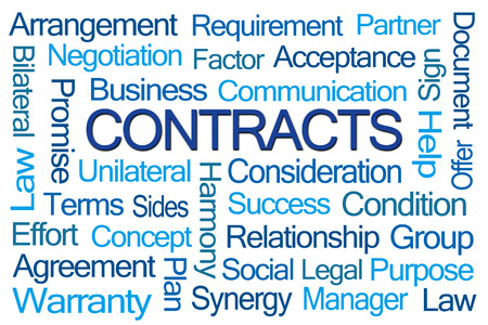 sides: Contracts Word Cloud on White Background