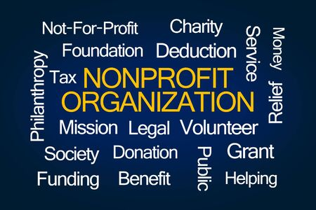 charitable: Nonprofit Organization Word Cloud on Blue Background