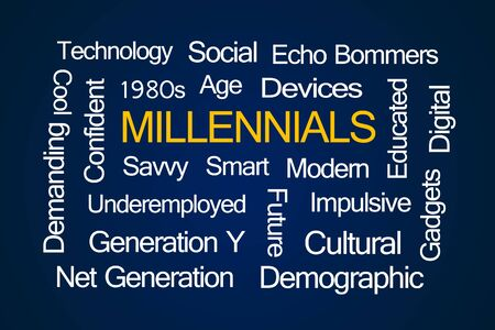 savvy: Millennials Word Cloud on Blue Background Stock Photo