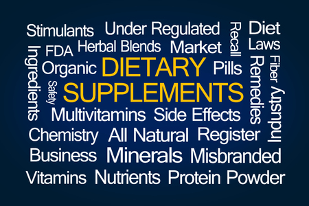 dietary supplements: Dietary Supplements word cloud on blue background Stock Photo