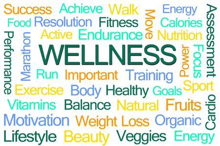 Wellness Word Cloud on White Background Stock Photo