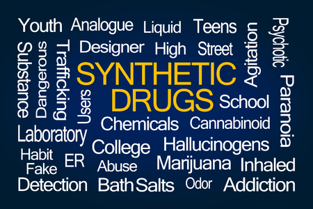 cannabinoid: Synthetic Drugs Word Cloud on Blue Background