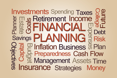 word cloud: Financial Planning Word Cloud on Light Brown Background Stock Photo