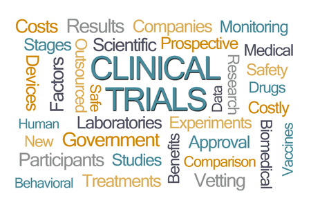 clinical: Clinical Trials Word Cloud on White Background Stock Photo