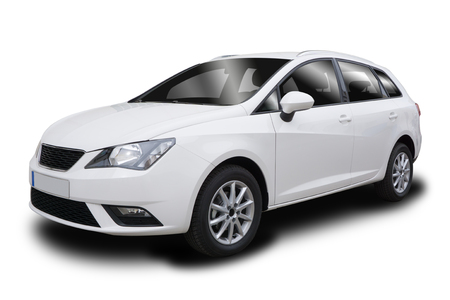 hatchback: Small White Five-Door Hatchback Vehicle Isolated on White Background