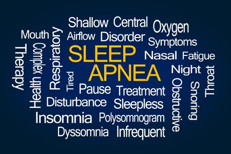 Sleep Apnea Word Cloud on Blue Background