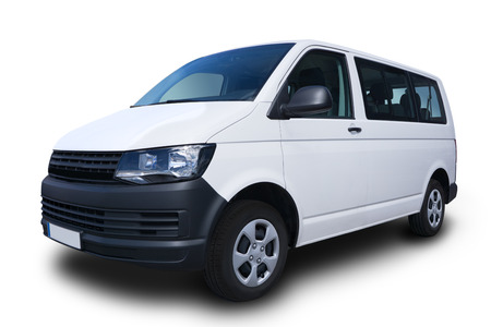 White Passenger Van Isolated on White Background Stock Photo