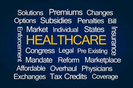 premiums: Healthcare Word Cloud on Blue Background Stock Photo