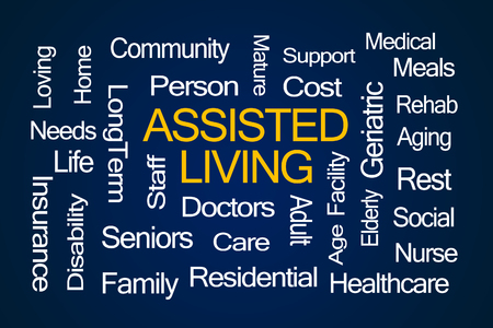 assisted living: Assisted Living Word Cloud on Blue Background