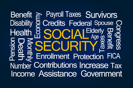 contributions: Social Security Word Cloud on White Background Stock Photo