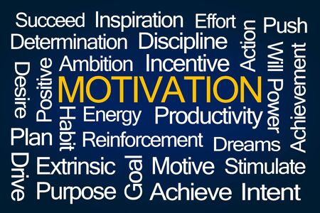 intrinsic: Motivation Word Cloud on Blue Background