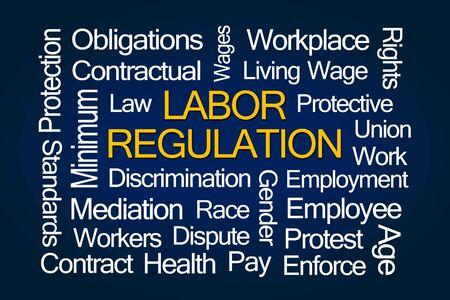 salarios: La regulación laboral nube de la palabra sobre fondo azul
