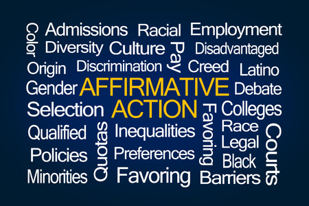 favoring: Affirmative Action Word Cloud on Blue Background