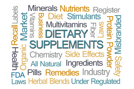 dietary supplements: Dietary Supplements Word Cloud on White background Stock Photo