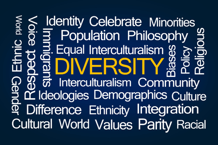 parity: Diversity Word Cloud on Blue Background Stock Photo