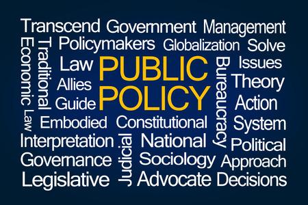 青の背景に公共政策の単語の雲 写真素材