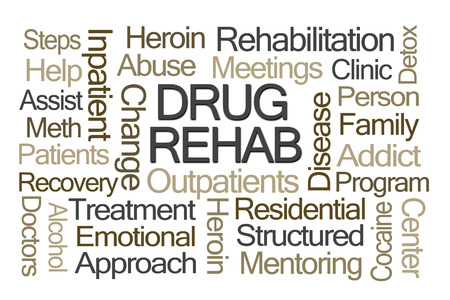 disease patients: Drug Rehab Word Cloud on White Background Stock Photo