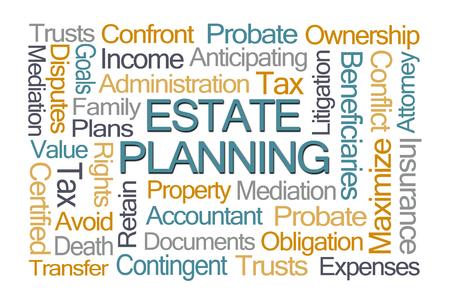 wort: Estate Planning Word Cloud auf weißem Hintergrund