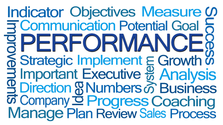 word cloud: Performance Word Cloud on White Background Stock Photo