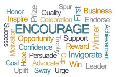 endorse: Encourage Word Cloud on White Background
