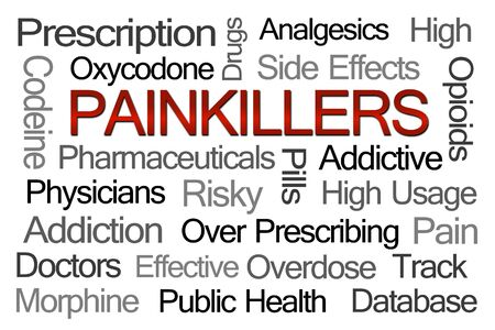Painkillers Word Cloud on White Background