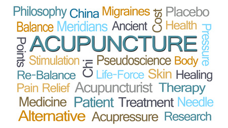 chinese philosophy: Acupuncture Word Cloud on White Background