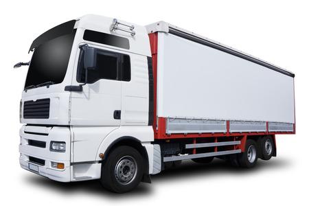 白い背景で隔離の大きな白いトラック
