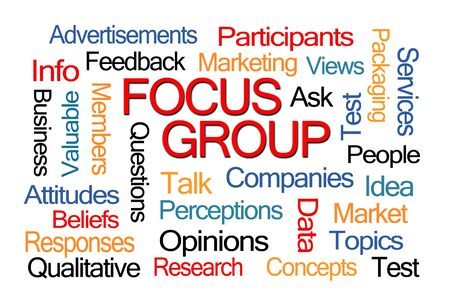 word: Focus Group Word Cloud on White Background