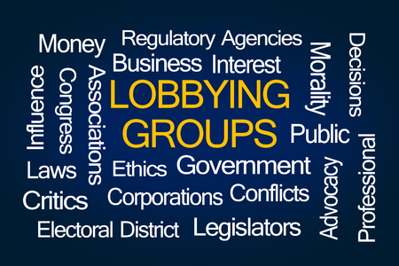 lobbying: Lobbying Groups Word Cloud on Blue Background