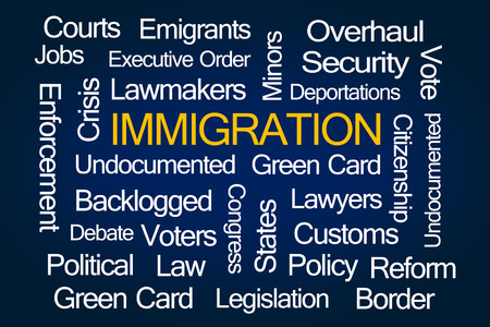 immigration: Immigration Word Cloud on Blue Background
