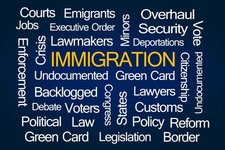 emigranti: Immigrazione Word Cloud su sfondo blu