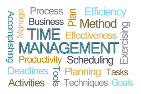 Time Management Word Cloud on White Background