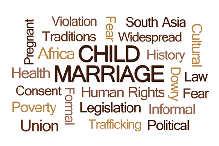 dowry: Child Marriage Word Cloud on White Background