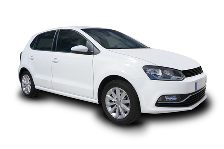 White Compact Four Door Car Isolated on White Background