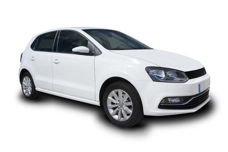 Car Blanc Compact Quatre porte isolé sur fond blanc Banque d'images