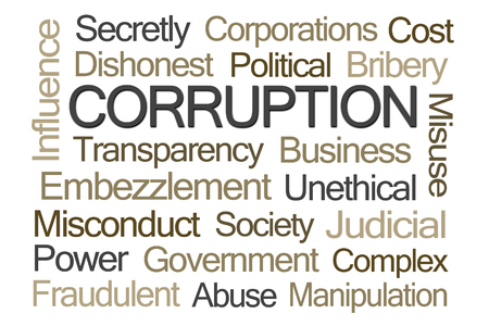 unethical: Corruption Word Cloud on White Background Stock Photo