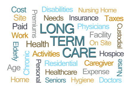 long term: Long Term Care Word Cloud on White Background
