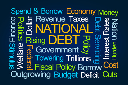 trillion: National Debt Word Cloud on Blue Background Stock Photo