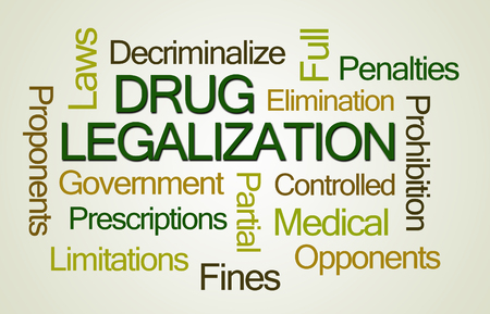 proponents: Drug Legalization Word Cloud on Light Green Background
