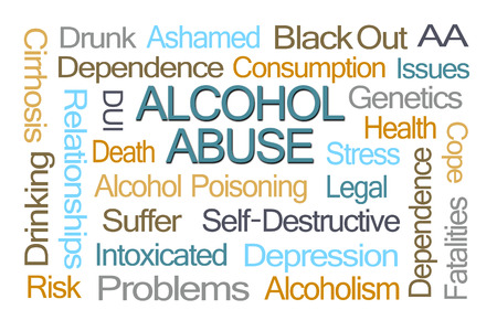 dui: Alcohol Abuse Word Cloud on White Background Stock Photo