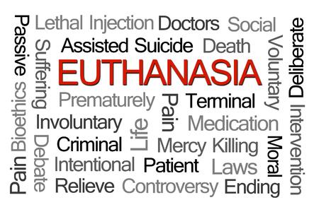 involuntary: Euthanasia Word Cloud on White Background