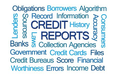 Credit Reports Word Cloud on White Background Stock Photo