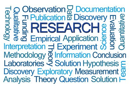 hypothesis: Research Word Cloud on White Background