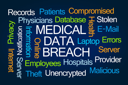 compromised: Medical Data Breach word cloud on blue background Stock Photo