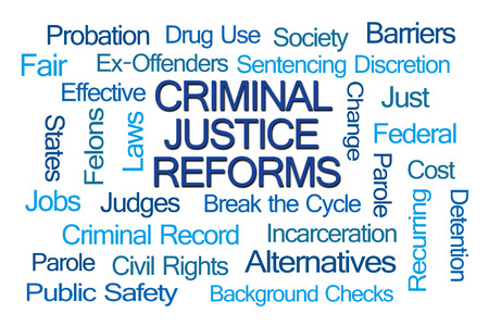 parole: Criminal Justice Reforms Word Cloud on White Background Stock Photo